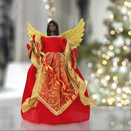 "The Christmas Workshop Red & Gold 82090 Angel Tree Topper | 12"" Tall Coloured 