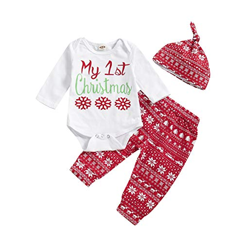 T TALENTBABY Neugeborenen Kleinkind Jungen Mädchen 3 Stücke My First Christmas Santa Kleidung Set Weihnachten Pyjamas Print Briefe Strampler Tops + Pants + Hut Outfits, Weiß Rot, 18-24 Monate