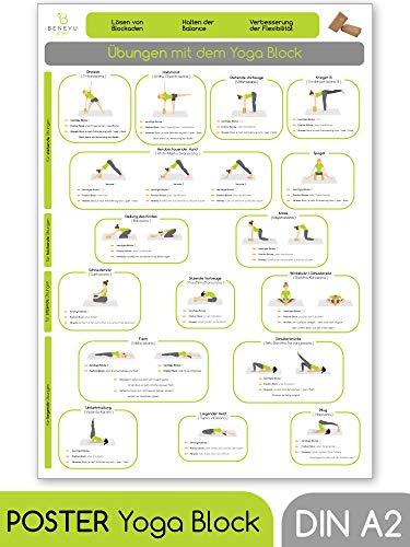 beneyu ® Yoga Poster für Yoga Block mit Yoga Asanas in Deutscht, DIN A2 (60x42cm) Klimaneutrale Produktion (auf A4 gefalzt) (gefalten, DIN A2)