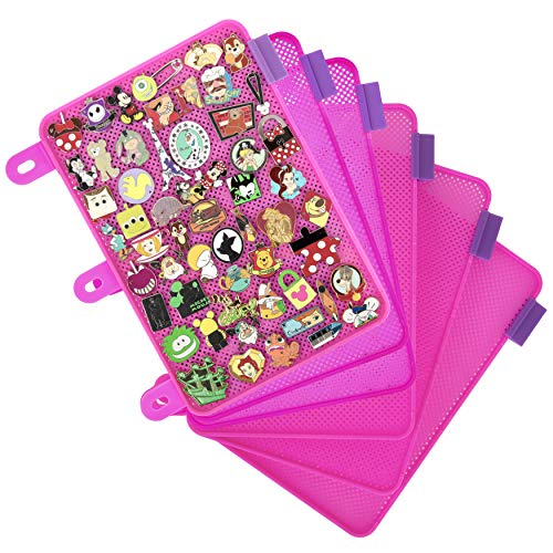 Enamel Pin Display Pages (6 PK) - Display and Trade Your Disney Collectible Pins in Any 3-Ring Binder - Pages Lay Flat with Pinbacks and NO Sagging! (Pink - Pins Not Included)