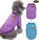 Abrlo - Pack de 2 jersey para perros de mascotas suave engrosamiento cálido clásico, ropa de punto para perros pequeños, medianos y grandes