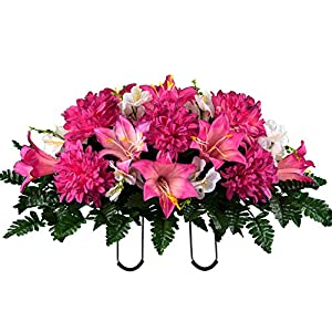Sympathy Silks Artificial Cemetery Flowers – Realistic – Outdoor Grave Decorations – Non-Bleed Colors, and Easy Fit – Pink Purple Dahlia Mix Saddle for Headstone