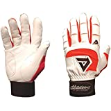 Akadema Professional Batting Gloves (White/Red, Large)