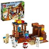 Lego 21167 minecraft el puesto comercial, set de construcción con figuras de steve, esqueleto y llamas, juguete para niños y niñas +8 años