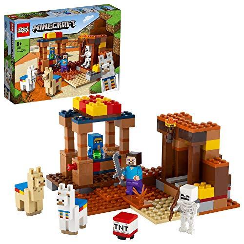 LEGO 21167 Minecraft Der Handelsplatzt, Bauset mit Figuren: Steve, Skelett und Lamas, Spielzeug für Jungen und Mädchen ab 8 Jahren