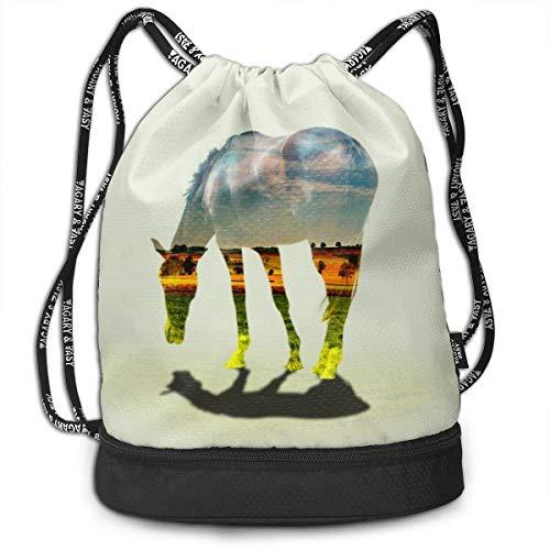 OKIJH Mochila Mochila de ocio Mochila con cordón Mochila multifuncional Bolsa de gimnasio GymSack Drawstring Bag Sackpack Horse View Creative Sport Cinch Pack Simple Bundle Pocke Backpack For Men Wome