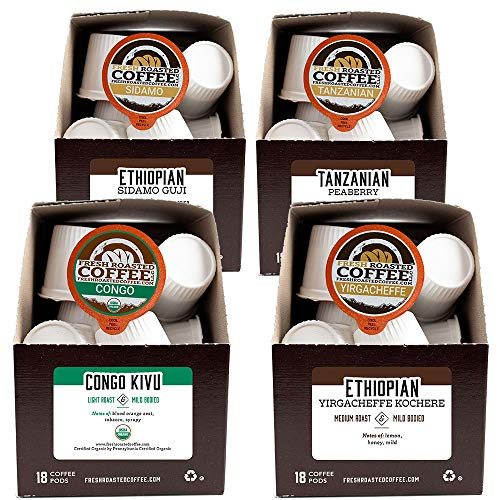 Fresh Roasted Coffee LLC, African Varietal Coffee Pod Variety Pack, 72 Count