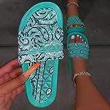 CCJW Sandalias de baño para interiores y exteriores, sandalias de playa de raso flores-verde_39, sandalias para mujer con puntera abierta kshu
