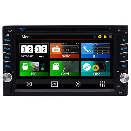 Double Din Car Stereo with Bluetooth Radio in Dash Head Unit 2 Din Autoradio 6.2 inch Touch Screen CD Player Video FM/AM/RDS Radio Tuner Car Audio System Stereo Receiver with Remote Control