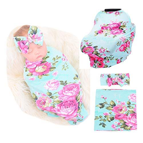 Baby Car Seat Cover Breastfeeding and Newborn Receiving Blanket Headband Set (Green)