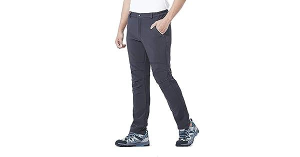 DR MAのGOTEK Mens Outdoor Hiking Mountain Ski Pants Soft Shell Fleece Lined Trousers/with Zipper Pockets