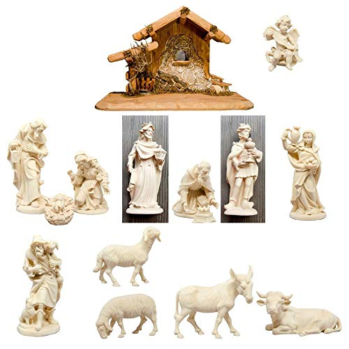 Traditionelle Krippenfiguren, Krippenfiguren, religiöse katholische christliche Geschenke, Kirchenbedarf, Heilige Familie (10 cm, 14 Stück, natur)