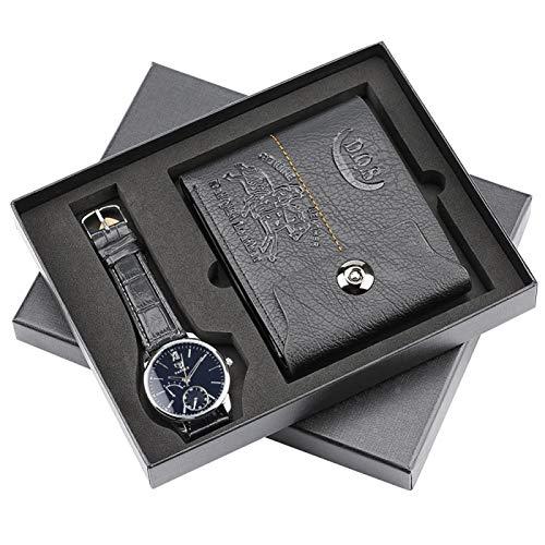xiaoxioaguo Reloj de cuarzo minimalista para hombre, con tarjetero y monedero, reloj de regalo para papá, marido, novio GiftSet35