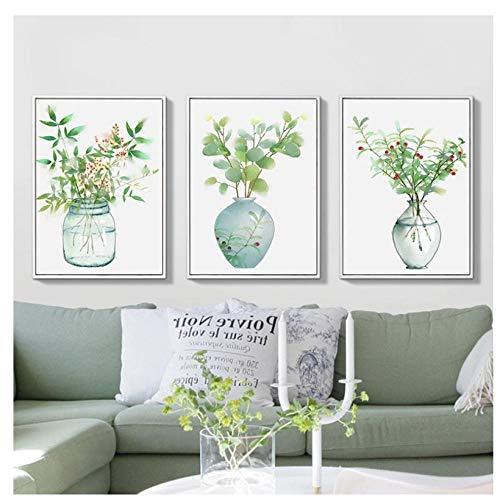 kaxiou Poster Nordic Green Plant Minimalistische Flesje Art Canvas Afdrukken Muurschilderingen Pop Pictures Woonkamer Woonkamer Decoratie-40X60Cmx3 Stks Geen Frame