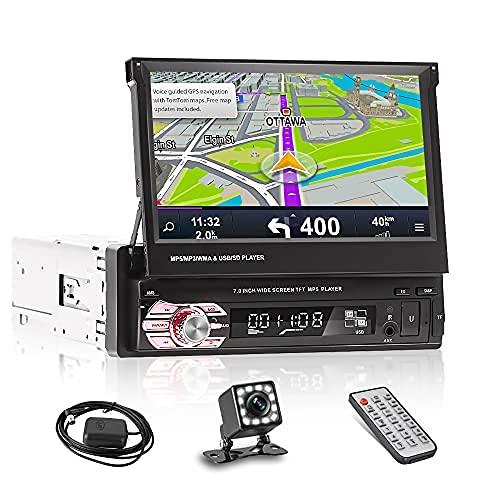 NHOPEEW 1Din Autoradio mit Navi und Rückfahrkamera 7 Zoll Touchscreen Single Din Flip Out Bluetooth Lautsprecher Stereo Unterstützung SD Karte/Video Eingang/Musik wiedergabe/AUX Anschluss/JPEG Format