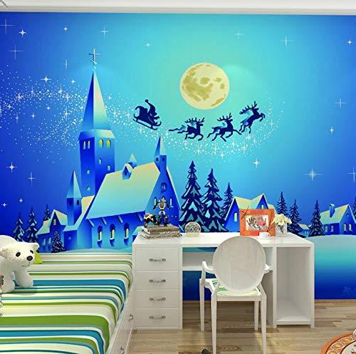 Cartoon Blue Elk Night Sky Kinderkamer Mural Slaapkamer Nachtbed Achtergrond Muur Naadloze Doek Decoratief Behang 400 x 200 cm.