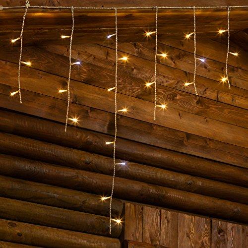 XMASKING Stalattite 2,7 x 0,8 m, 66 LED Bianco Caldo e Bianco Freddo, Effetto Flashing, Cavo Trasparente, prolungabile, luci di Natale, luci per cornicioni, Illuminazione Natalizia, Tende Luminose