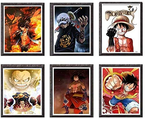 YEAHTOPE OP Manga Anime Gear Fourth Luffy Ace Law - Lienzo decorativo (8 x 10 pulgadas), sin marco, juego de 6 unidades