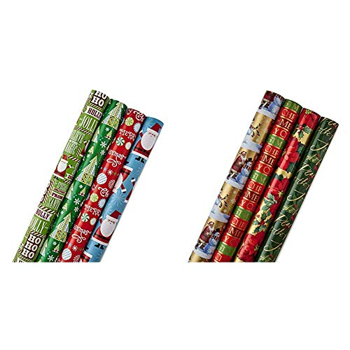 Hallmark Reversible Christmas Wrapping Paper Bundle for Kids (Pack of 4, 150 sq. ft. ttl.) Santa, Trees, Red, Blue, Green
