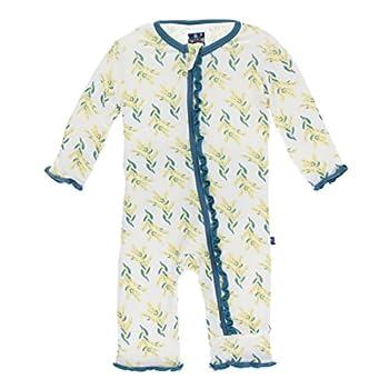 KicKee Pants Little Girls Print Muffin Ruffle Coverall with Zipper - Golden Wattle 9-12 Months
