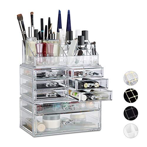 Relaxdays 10023135_50 Organizzatore Make-Up con Cassetti, Porta-Trucchi e Accessori, Acrilico, 14 X 24 X 30 Cm, Trasparente