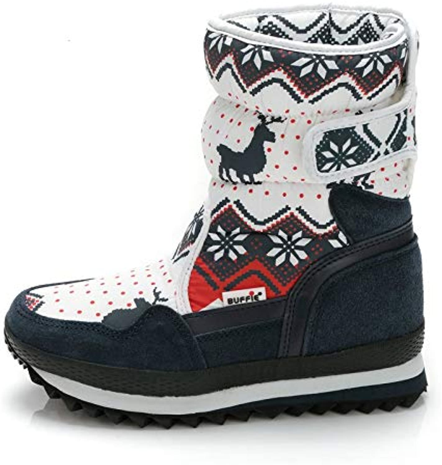 Wasab Snow Boots for Women Girls Boys Christmas Deer Snow Boots Ankle Non-Slip Waterproof Winter