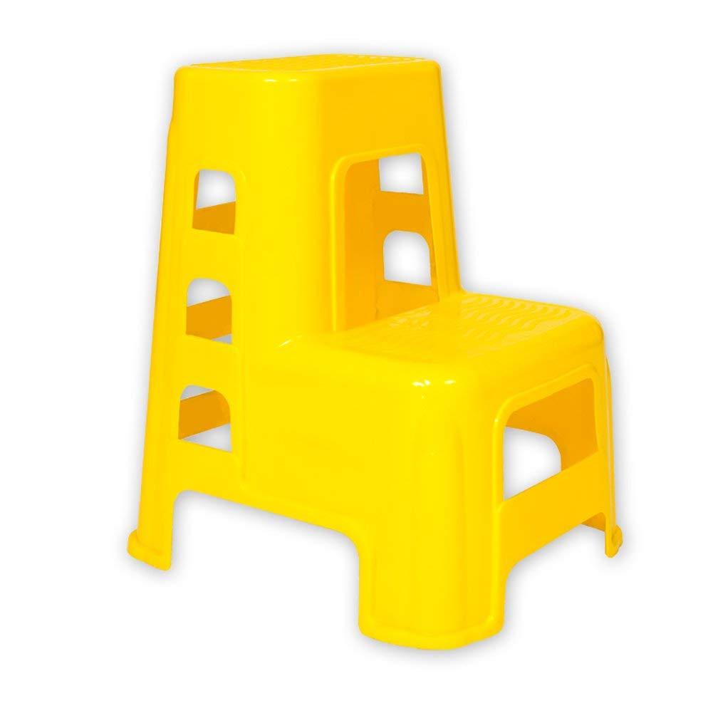 Taburete de escalera Taburete de plástico de 2 peldaños Escalera para adultos y niños Taburete de lavado de autos Muebles para el hogar Taburetes pequeños para pies Banco de zapatos (Color: amarillo):