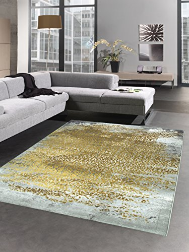 CARPETIA Moderner Teppich Antik Vintage Ornamente grau senfgelb Gold Größe 200 x 290 cm