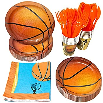 Basketball Party Supplies Packs 110+ Pieces for 16 Guests!  Hoops Birthday Kit Basketball Tableware Pack Basketball Decorations