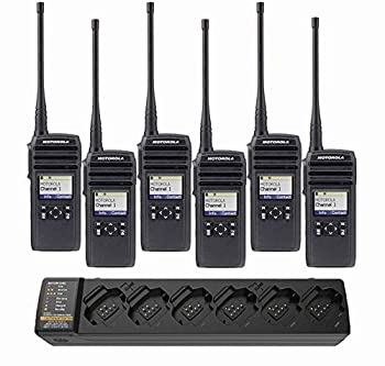 6 DTR600 Digital 900 MHz License Free Digital Two-Way Business Radios with Display & 1 PMPN4465 Multi Unit Radio Charger Charges 6  by Motorola Solutions - Intended for Business Use