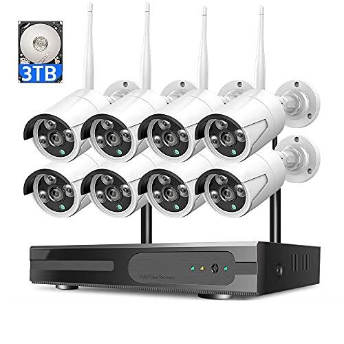 MWEIMA 8CH 3MP Sistema De Cámara De Seguridad Inalámbrica,8pcs Cámara De Seguridad WiFi,Impermeable,Visión Nocturna,Alerta De Movimiento,7x24 Monitoreo En Tiempo Real (Size : Standard Kit+3TB HDD)