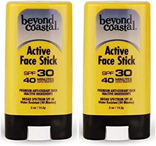 Beyond Coastal Active Face Stick SPF 30 (Pack of 2) With Beeswax, Coconut Oil, Shea Butter, Sweet Orange Oil, Aloe Vera, Corn Starch, Vitamin E and Yerba Mate Extract, 0.5 Oz. Each