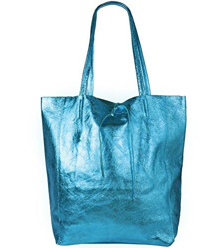 Freyday Damen Echtleder Shopper mit Innentasche in vielen Farben Schultertasche Henkeltasche Metallic look (Hellblau Metallic)