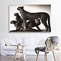 ファッションキャンバス絵画 ブラックホワイト動物抽象ピクチャーヒョウ家族のポスター北欧ウォールアートモダンリビングルームのホームインテリア絵画プリント (Color : Lye1623, Size (Inch) : No frame 70x90cm)