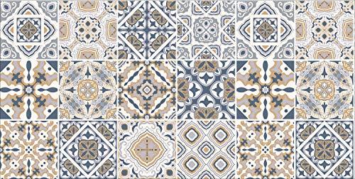 De'Carpet Alfombra Textil Absorbente Lavable EN Lavadora BALDOSA HIDRÁULICA Beige (40x60cm)
