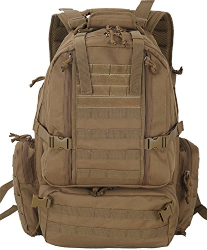 Explorer Tactical Backpack Large for Travel, Hiking, Hunting, Trekking, Camping, 3 Day Assault Pack Tactical Backpack Military or Bug Out Survival Bag (Brown Color)