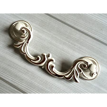 Shabby Chic Drawer Knobs Pulls Handles Dresser Drawer Pull Knob Bail Ivory White Gold Cabinet Handle Back Plate French Kitchen Hardware Pull