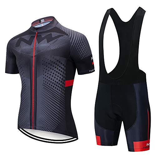 Conjunto Ropa Ciclismo Hombre, Traje MTB Maillot Bicicleta Mangas Cortas+5D Gel Culotte Pantalones Cortos Verano Equipacion Ciclismo (L, ANW-BK3)