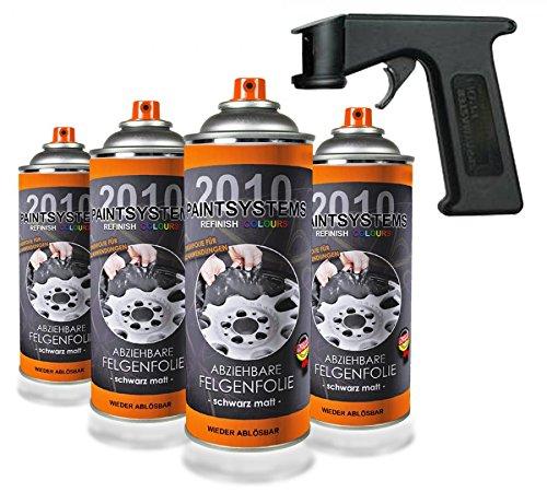 Paintsystems 8 x400ml, Felgenfolie schwarz glänzend, inkl. Handgriff Spraymaster