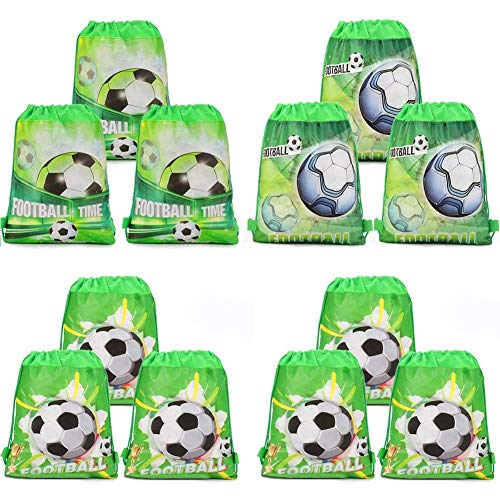 SZWL Bolsas con Cordón de Fútbol Bolsa, Bolsas con Cordón, Fútbol Bolsa, Regalo Cumpleaños Escolar Bolsas Tela no Tejida para Niños Regalo Fiestas Infantiles Fútbol Cumpleaños de Niños - 12 Piezas
