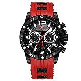 Mini Focus Relojes deportivos de negocios para hombre, cronógrafo de calendario, correa de silicona resistente al agua, reloj de pulsera de cuarzo para regalo de marido, rosso, Pulsera