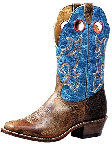 Botas americanas–Botas cowboy bo-4736-e (pie normal)–hombre–Cuero–Azul/Marrón, Azul (Damasko Taupe / Lava Electric Bleu & Shoulder Navajo Brun), 46.5