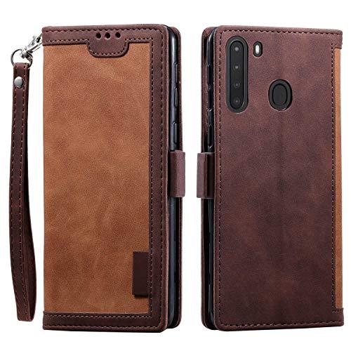 LAFCH Handyhülle Galaxy A21 Hülle, Premium PU Leder Flip Schutzhülle für Samsung Galaxy A21 mit Karteneinschub und Magnetverschluss, Braun