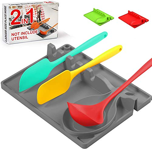 Silicone Spoon HolderSpoon Rest 6 in 1 Silicone Spoon Holder for Stove Top Upgraded Utensil Rest with Drip Pad Kitchen Utensil HolderGrey