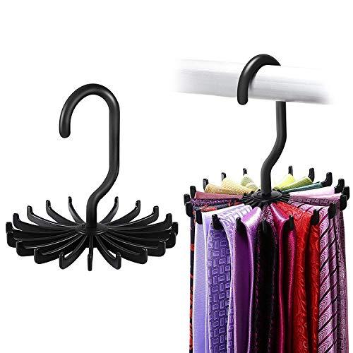 ipow 2 Stück Krawattenhalter, 360°drehbare Krawattenbügel für 20 Krawatten mit längerem Haken Kleiderschrank Organizer - Krawatten Schlips Gürtel Schal Ketten Halter (Schwarz 12cm)