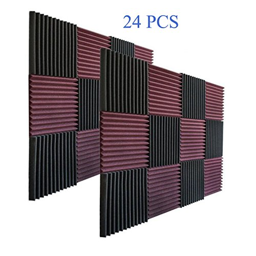 24 Pack- Charcoal Acoustic Panels Studio Soundproofing Foam...