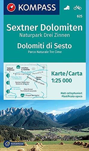 KOMPASS Wanderkarte Sextner Dolomiten, Naturpark Drei Zinnen, Dolomiti di Sesto, Parco Naturale Tre Cime: Wanderkarte mit Radtouren. GPS-genau. 1:25000 (KOMPASS-Wanderkarten, Band 625)