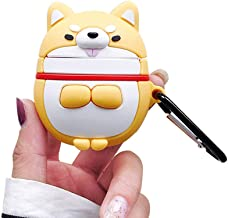 BONTOUJOUR AirPods Case, Super Cute Creative Funny Round Face Greeting Shiba Inu Dog AirPods Case, Lovely Puppy Soft Silicone Earphone Protection Skin for AirPods1&2+Hook -Yellow