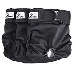 "DOG DIAPERS EXTRA LARGE - Best for Extra large dogs, waist size 26"" to 35"". Please measure your dog's waist right in front of the back legs to ensure a good fit. 3 WASHABLE DOG DIAPERS IN BLACK PER PACKAGE - Three Premium Black Dog Diapers. These was..."
