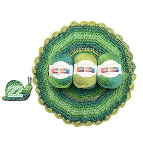 Bogji-Soft kamgaren regenboog kleurverloop kleuren DIY baby breiwol sjaal sjaal pullover haakdraad geleverd (22) Eén maat 22